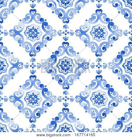 Delft blue style seamless pattern. Watercolor vintage filigree cobalt blue ornament for textile fabric wallpaper tableware. Dutch motives boho surface design. Holland tile motives blue background.