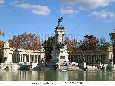 Buen Retiro Park with the Monument to King Alfonso XII, Madrid, Spain