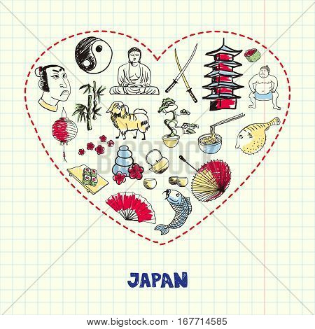 Love Japan. Dotted heart filled with colored doodles associated with japanese nation on squared paper vector illustration. Memories about Asia journey. Sketched culinary, culture, religious icons