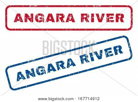 Angara River text rubber seal stamp watermarks. Vector style is blue and red ink tag inside rounded rectangular banner. Grunge design and unclean texture. Blue and red signs.