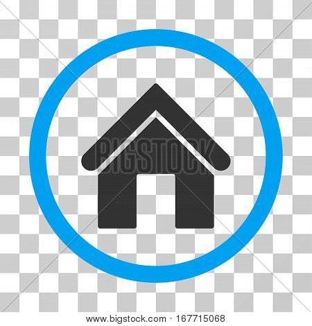 Home rounded icon. Vector illustration style is flat iconic bicolor symbol inside a circle blue and gray colors transparent background. Designed for web and software interfaces.