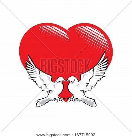 Vector Illustration of two pigeons in love shaping a heart.