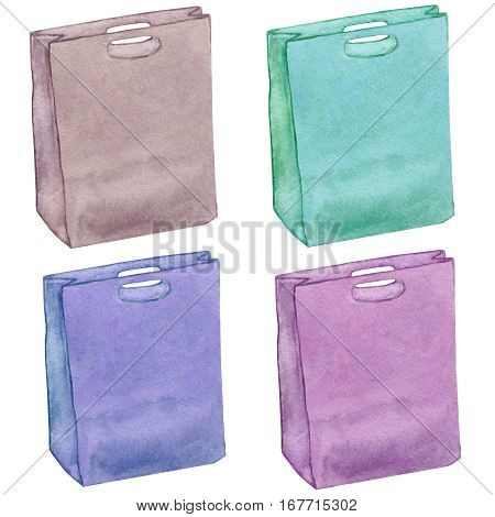 Leather bags set. Bags isolated. Colorful leather handbags. Shopping bags. Colorful accessories. Watercolor collection.