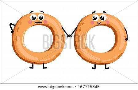 Cute bagel cartoon character isolated on white background vector illustration. Funny positive and friendly bakery pastry emoticon face icon. Happy smile cartoon face food, comical bagel mascot symbol