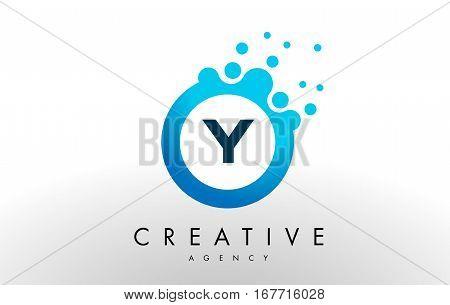 y Dots Letter Logo. Blue Bubble Design Vector Illustration.