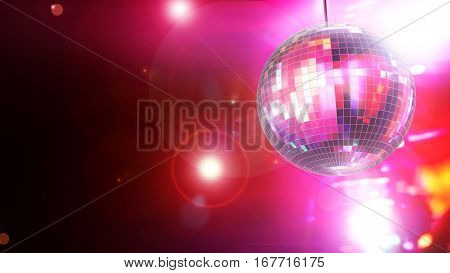 3D Illustration - Shiny disco ball on pink background.