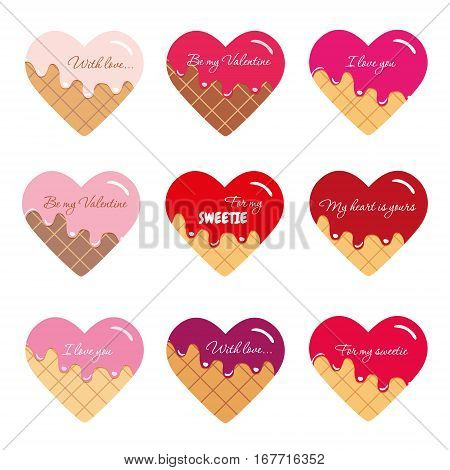 Valentines day stickers. Waffel hearts with melted cream and red syrup. Bright and pastel colors.
