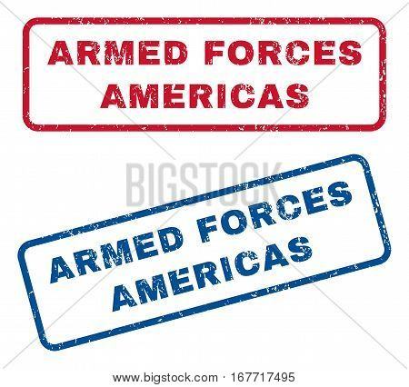 Armed Forces Americas text rubber seal stamp watermarks. Vector style is blue and red ink tag inside rounded rectangular banner. Grunge design and dust texture. Blue and red stickers.