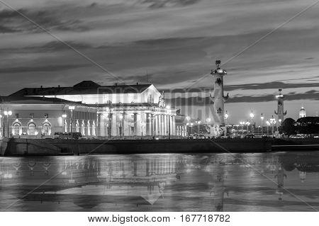 Menacing Sky Of The Sunset Over The Spit Vasilyevsky Island. Saint Petersburg , Black-and-white Imag