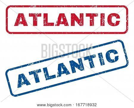 Atlantic text rubber seal stamp watermarks. Vector style is blue and red ink caption inside rounded rectangular banner. Grunge design and dust texture. Blue and red stickers.