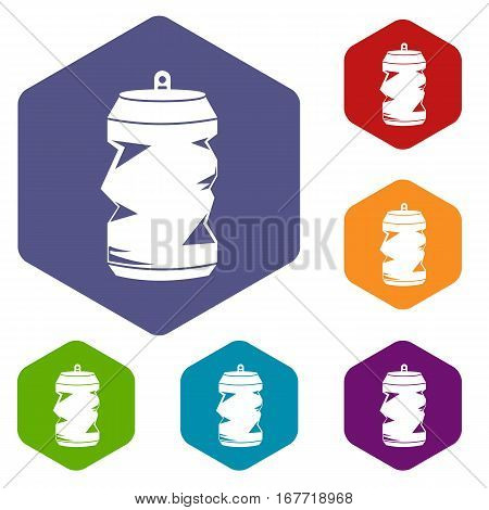 Crumpled aluminum cans icons set rhombus in different colors isolated on white background