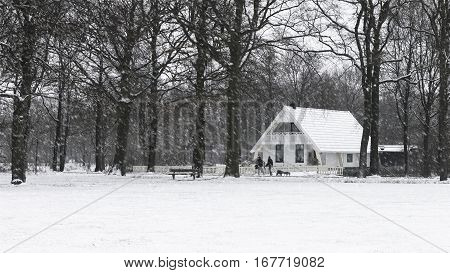 A bungalow house during snow in Assen Netherlands - January 2017