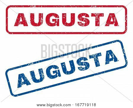 Augusta text rubber seal stamp watermarks. Vector style is blue and red ink tag inside rounded rectangular shape. Grunge design and dust texture. Blue and red stickers.