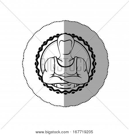 contour sticker border with muscle man crossed arms shading vector illustration