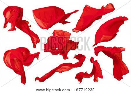 Set flying red fabric - high speed studio shot, art object, design element