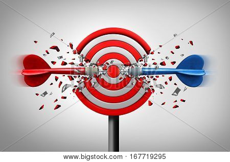 Reaching goals together business partner success concept as two different darts hitting the core of a common target successfully as a winning strategy or right and left bypartisan support metaphor as a 3D illustration.
