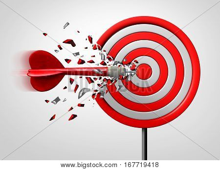 Innovative goal strategy as a business success concept with a dart hitting the target sideways as a metaphor foran alternate route to achievement as a 3D illustration.