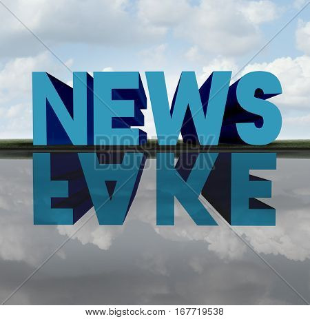 Fake news concept and media hoax journalistic reporting as text casting a relection of a hidden agenda as false reporting metaphor and deceptive disinformation with 3D illustration elements. poster