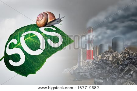 Environmental emergency concept as a leaf with SOS carved into a leaf by a snail as it looks upon a toxic polluted industrial wasteland as an ecology and nature threat symbol with 3D illustration elements.