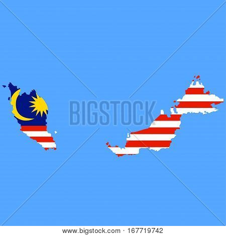 Territory Of Malaysia On A Blue Background