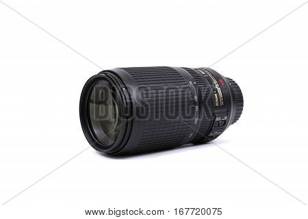 Kyiv, Ukraine - February 28, 2016:  Nikon 70-300Mm F/4.5-5.6G If-ed Af-s Vr Lens For  Dslr Nikon Cam