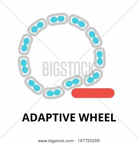 Modern flat editable vector line icon of future technology - adaptive wheel for graphic and web design
