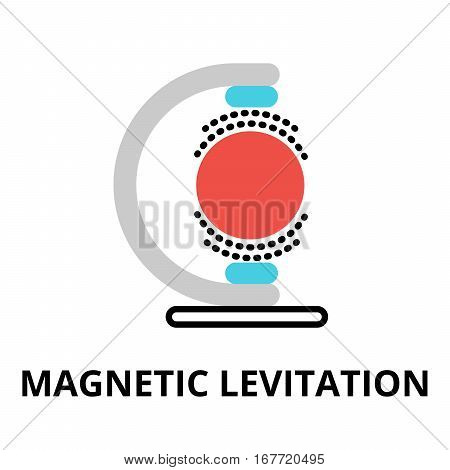 Modern flat editable vector line icon of future technology - magnetic levitation for graphic and web design