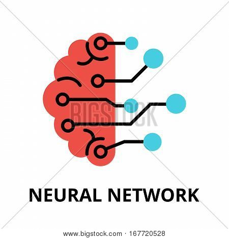 Modern flat editable vector line icon of future technology - neural network for graphic and web design