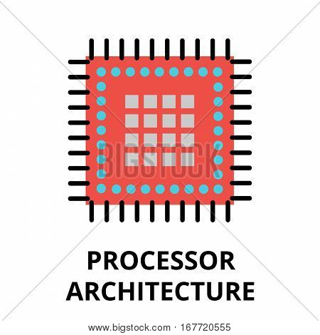 Modern flat editable vector line icon of future technology - processor architecture for graphic and web design