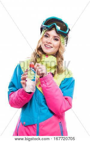 Snowboard Pretty Girl Opens Water Bottle