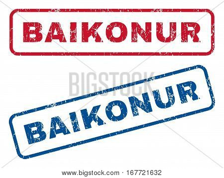 Baikonur text rubber seal stamp watermarks. Vector style is blue and red ink tag inside rounded rectangular shape. Grunge design and dust texture. Blue and red signs.