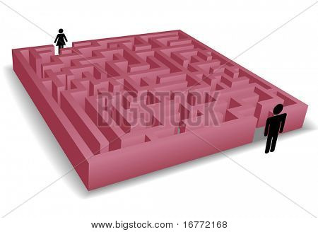 Ein rot Labyrinth-Rätsel trennt Mann und Frau, die als Symbol für Romantik und Trennung Probleme.
