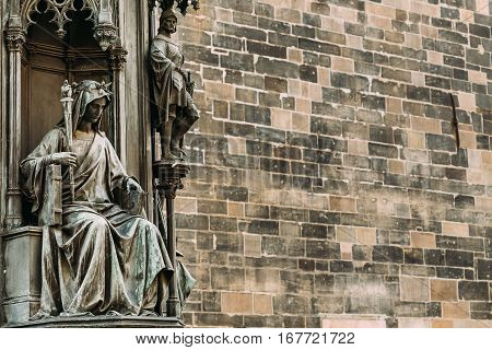 Prague, Czech Republic. Detail Of Statue Of Czech King Charles IV In Prague, Czech Republic