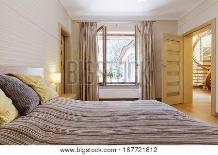 Bedroom Interior With Open Window