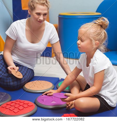 Child Touching With Closed Eyes Sensory Integration Equipment
