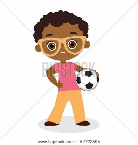 African American Boy With Glasses. Kid Playing Football. Vector Illustration Eps 10 Isolated On Whit