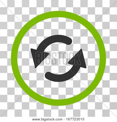 Refresh CCW rounded icon. Vector illustration style is flat iconic bicolor symbol inside a circle eco green and gray colors transparent background. Designed for web and software interfaces.