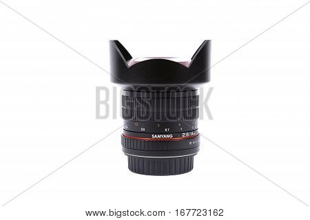 Kyiv, Ukraine - February 28, 2016:  Samyang 14Mm F/2.8 Ae If Ed Umc Aspherical Lens For  Dslr Nikon