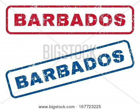 Barbados text rubber seal stamp watermarks. Vector style is blue and red ink tag inside rounded rectangular banner. Grunge design and dirty texture. Blue and red signs.