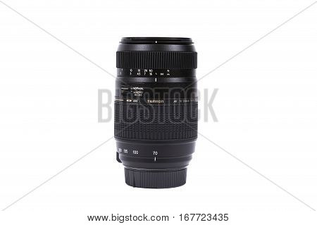Kyiv, Ukraine - February 28, 2016: Tamron 70-300Mm F/4-5.6 Af Di Ld Macro Lens For  Dslr Nikon Camer