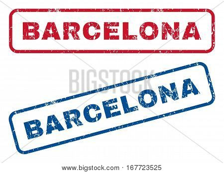 Barcelona text rubber seal stamp watermarks. Vector style is blue and red ink tag inside rounded rectangular banner. Grunge design and dirty texture. Blue and red signs.