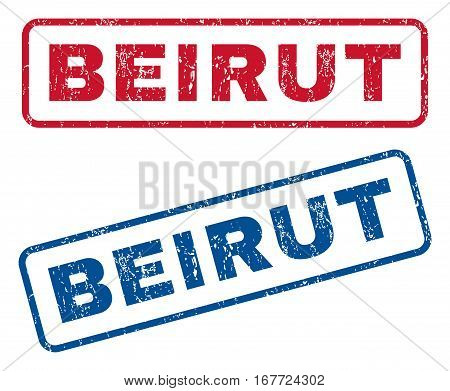 Beirut text rubber seal stamp watermarks. Vector style is blue and red ink caption inside rounded rectangular shape. Grunge design and dirty texture. Blue and red emblems.
