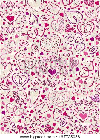 Color patterned background with red valentine hearts vector illustration. Ideal for printing onto fabric and paper or scrap booking.
