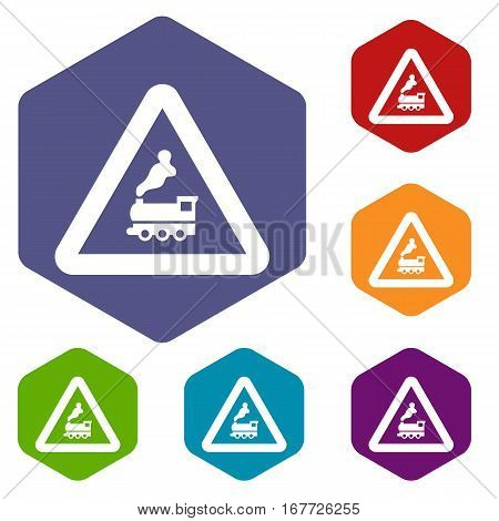 Warning sign railway crossing without barrier icons set rhombus in different colors isolated on white background