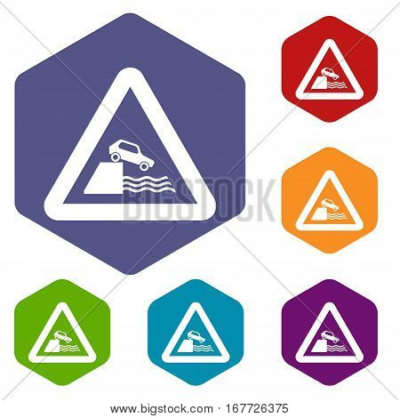 Riverbank traffic sign icons set rhombus in different colors isolated on white background