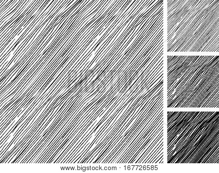 Seamless pattern of hand drawn sketches rough parallel hatching grunge pattern. texture has three different shades: light mid and dark tone. poster