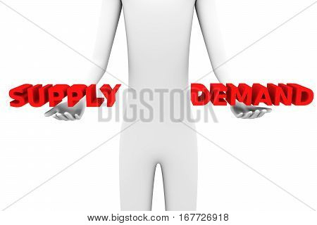 ratio of supply and demand on the white background 3D illustration