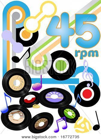 Classic rock solid gold oldies on 45 RPM rock and roll music records.