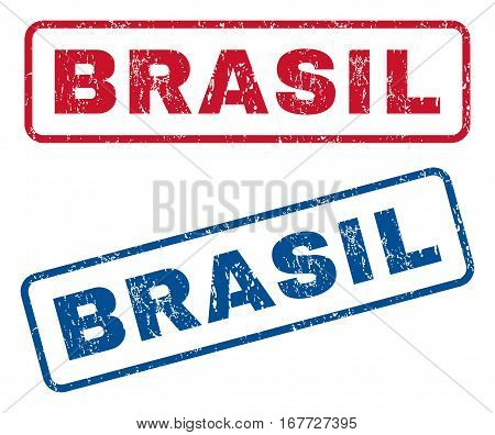Brasil text rubber seal stamp watermarks. Vector style is blue and red ink caption inside rounded rectangular banner. Grunge design and scratched texture. Blue and red emblems.