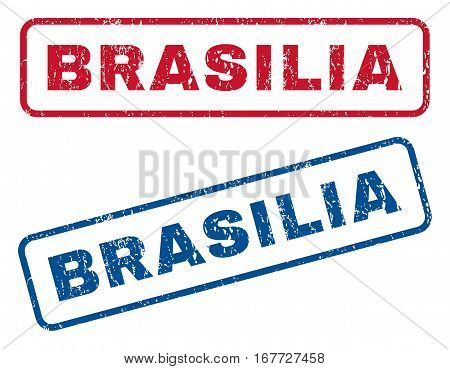 Brasilia text rubber seal stamp watermarks. Vector style is blue and red ink tag inside rounded rectangular banner. Grunge design and dirty texture. Blue and red stickers.